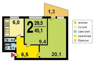 2-х комнатная квартира в доме серии I-515-9Ш