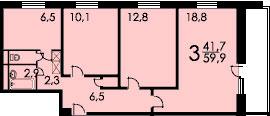 3-комнатная квартира в доме серии 1605/5 (вариант В)