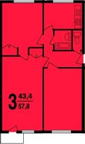 3-х комнатная квартира в доме серии I-510МГ (вариант А)