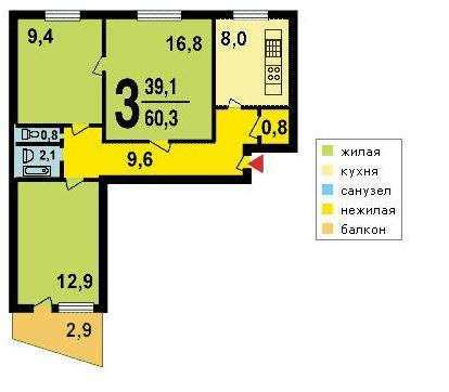3-х комнатная квартира в доме серии I-515-9Ш