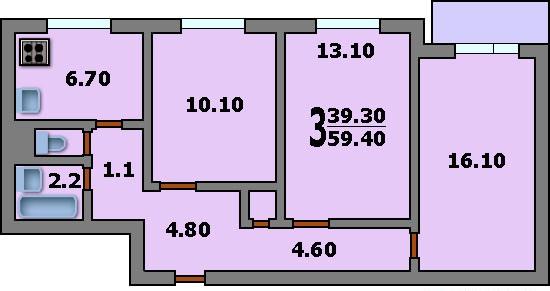 3-комнатная квартира в доме серии 1605/5 (вариант А)