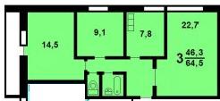 3-комнатная квартира в доме серии II-68/01