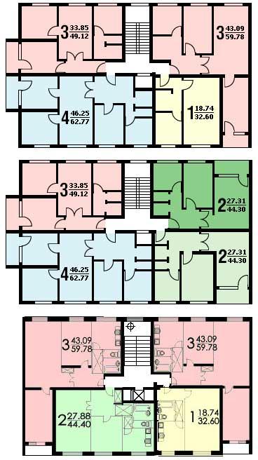 Размещение квартир на этаже