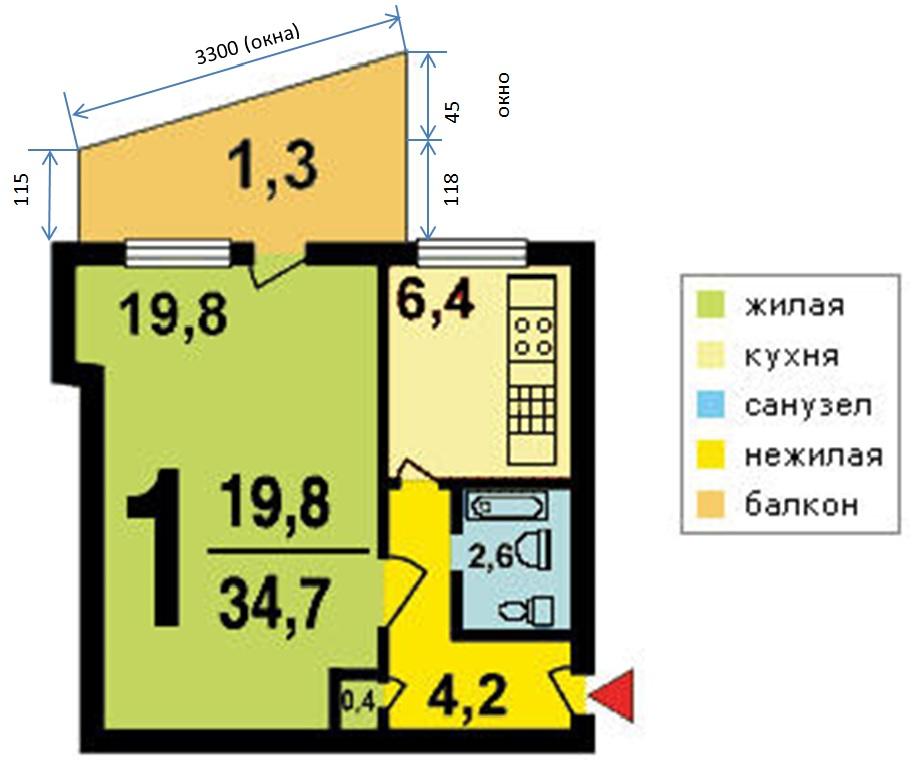 1-х комнатная квартира в доме серии I-515-9Ш