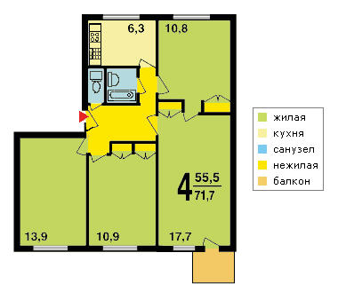 4-х комнатная квартира в доме серии I-510МГ