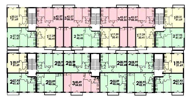 Расположение квартир на этаже